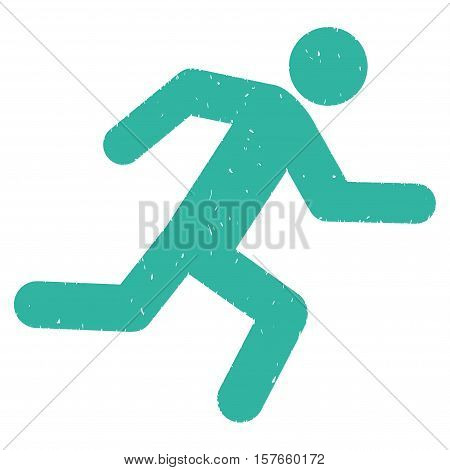 Running Man grainy textured cyan icon for overlay watermark stamps. Flat symbol with unclean texture. Dotted vector ink rubber seal stamp with grunge design on a white background.