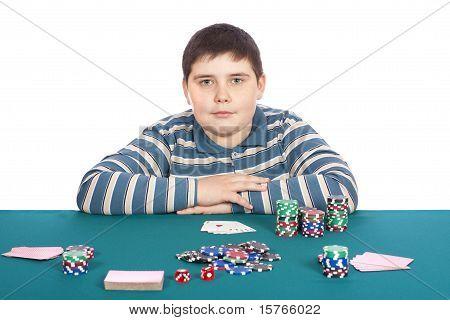 Boy Playing Poker