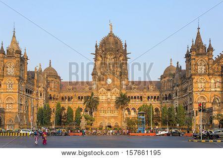 Mumbai, India - February 27, 2016: Chatrapati Shivaji Terminus earlier known as Victoria Terminus in Mumbai, India. Panorama