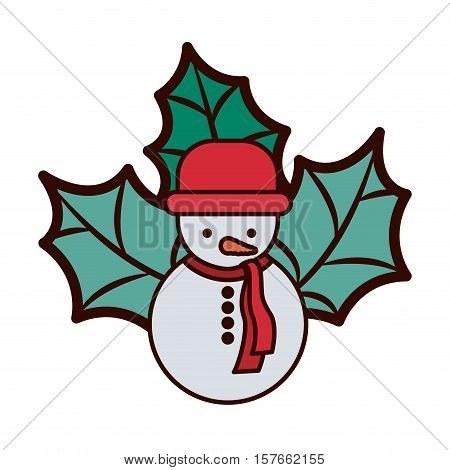 snowman with red hat and christmas leaves vector illustration