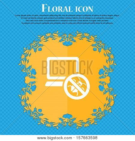 Bug Find Icon Sign. Floral Flat Design On A Blue Abstract Background With Place For Your Text. Vecto