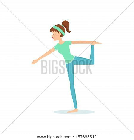 Lord Of Dance Natarajasana Yoga Pose Demonstrated By The Girl Cartoon Yogi With Ponytail In Blue Sportive Clothing Vector Illustration. Part Of Collection Of Yoga Asana Postures Drawing With Young Woman In Training Outfit