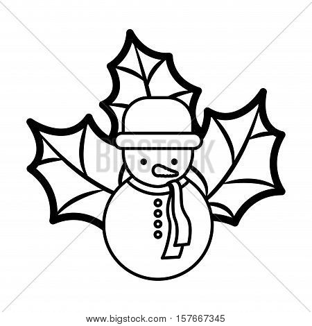 snowman silhouette with hat and christmas leaves vector illustration