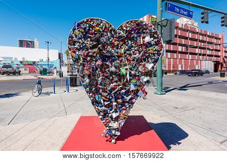 LAS VEGAS - SEPTEMBER 27, 2016 - The Love Locket sculpture at Container Park on September 27, 2016 in Las Vegas. Container Park is a sustainable shopping attraction in downtown Las Vegas