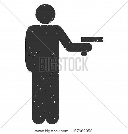 Robber With Gun grainy textured gray icon for overlay watermark stamps. Flat symbol with dust texture. Dotted vector ink rubber seal stamp with grunge design on a white background.