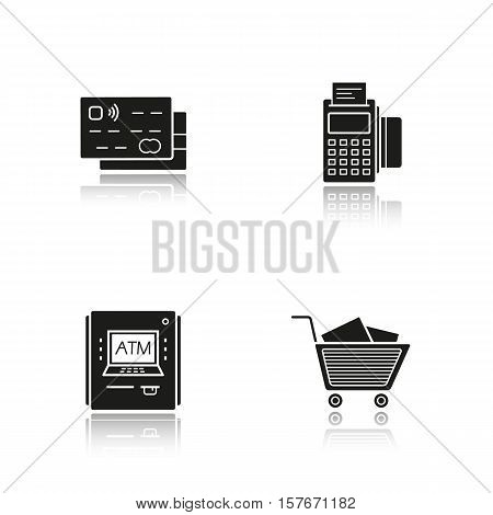 Supermarket shopping drop shadow black icons set. Grocery store. Credit cards, pos terminal, bank atm machine, shopping cart with boxes. Isolated vector illustrations