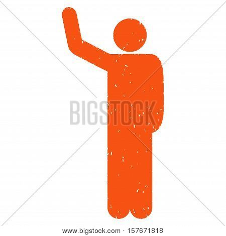 Hello Pose grainy textured orange icon for overlay watermark stamps. Flat symbol with dust texture. Dotted vector ink rubber seal stamp with grunge design on a white background.