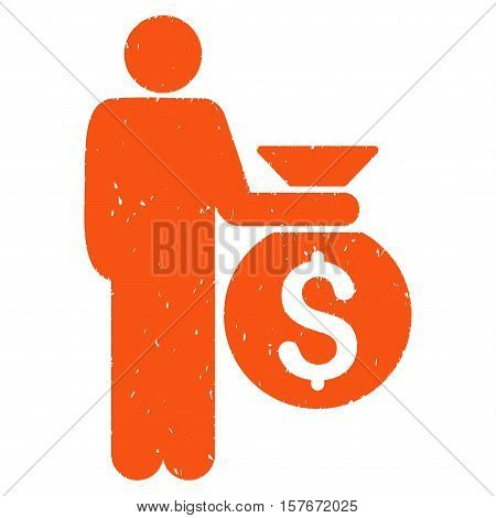 Investor grainy textured orange icon for overlay watermark stamps. Flat symbol with dirty texture. Dotted vector ink rubber seal stamp with grunge design on a white background.