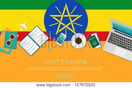 Visit Ethiopia Concept For Your Web Banner Or Print Materials. Top View Of A Laptop, Sunglasses And