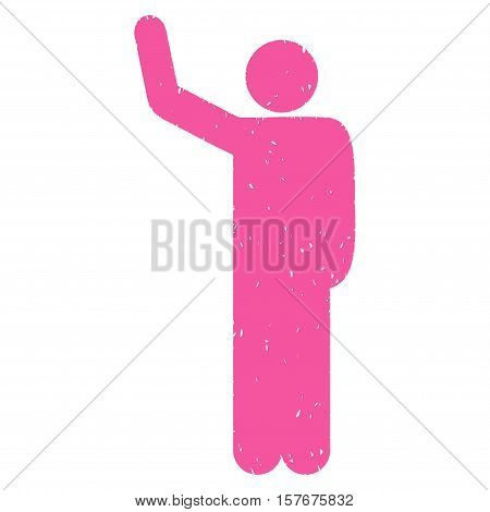 Hello Pose grainy textured pink icon for overlay watermark stamps. Flat symbol with dust texture. Dotted vector ink rubber seal stamp with grunge design on a white background.