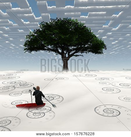 Surreal Man floats in red umbrella.   3D Rendered