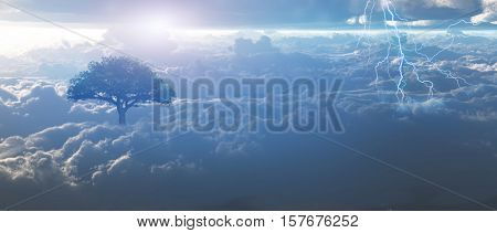 Sunrise, lightning above the clouds.   3D Rendered