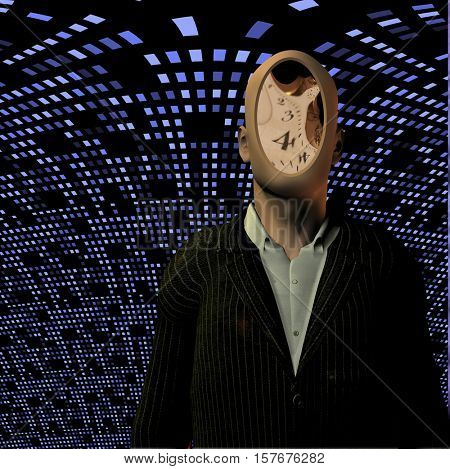 Man with clock face before blue grid   3D Rendered