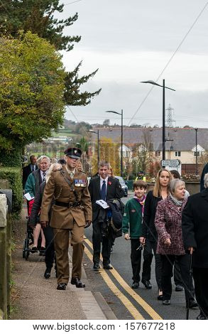 The Remembrance Parade On Remembrance Sunday 2016 In Wrexham Wales.