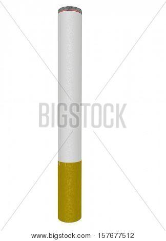 Burning cigarette on white background.   3D Rendered