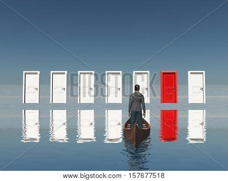 One red door among seven floating doors. Man in a boat.   3D Rendered