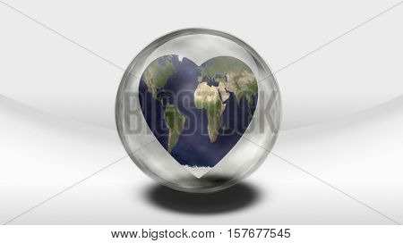 Earth Heart in glass container   3D Rendered  Some elements provided courtesy of NASA