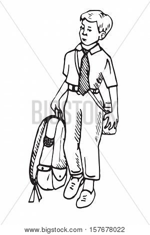 Boy is going to school with bag, hand drawn doodle, sketch in pop art style, vector