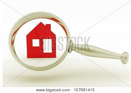 Magnifying glass inspects a home. Concept of search of house for residence, real estate investment, inspection. 3d illustration