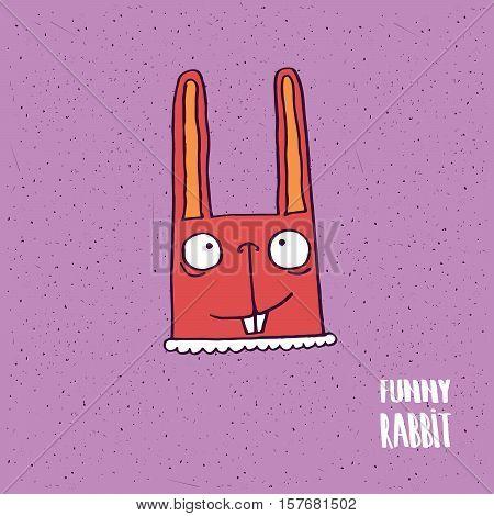 Rabbit With Big Ears In Handmade Cartoon Style