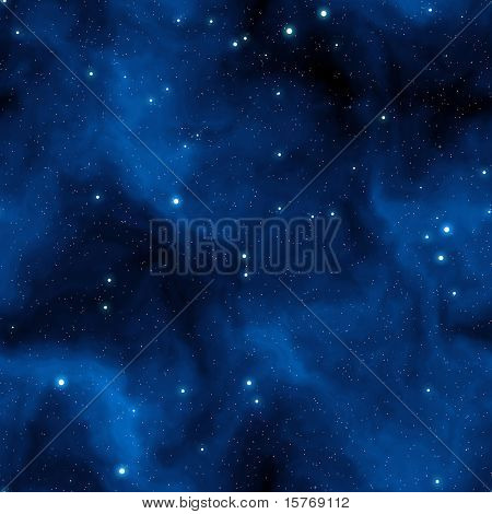 Seamless Starfield with Glowing Stars at Night