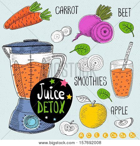 Sketch Juice detox set. With illustration of ingredients, glass, stars, blender and vitamin Hand drawn doodle style. Smoothies, carrot, beet, apple.