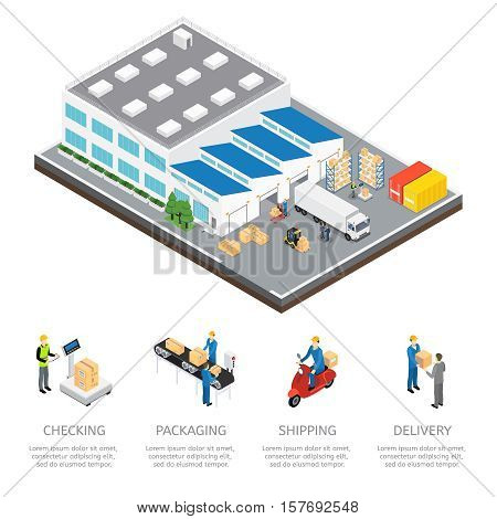 Warehouse isometric colored composition with checking packaging shipping and delivery descriptions vector illustration