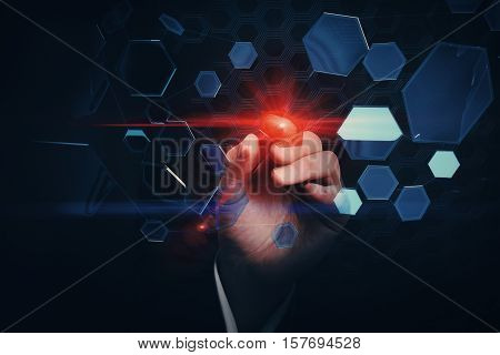 Businessman's hand aiming illuminated red dart at abstract flying honeycomb particles. Targeting concept. 3D Rendering
