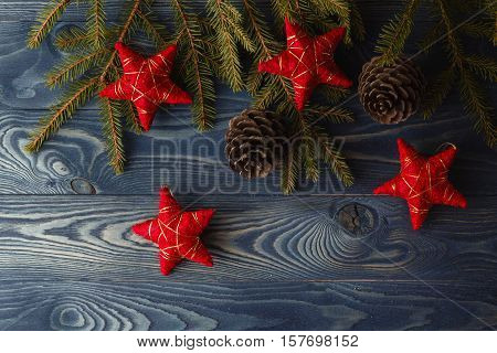 Branch Of Christmas Tree With Pinecone And Stars