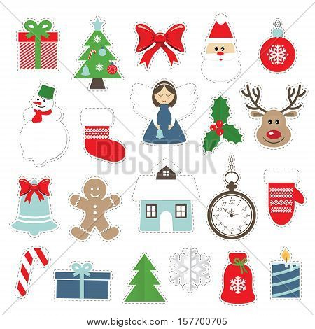 Christmas and new year festive stickers set isolated on white. Santa Claus angel deer house snowman.