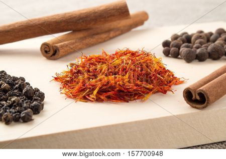 Relishes And Spices On A Wooden Tray