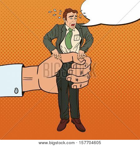 Employer Big Hand Squeezes Pop Art Office Worker. Oppression at Work. Vector illustration