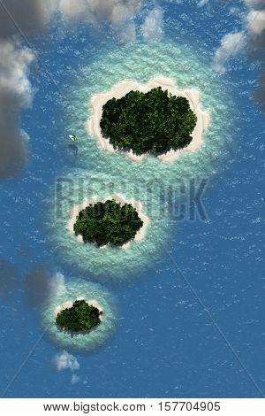 Imagination Cloud Islands 3d Render