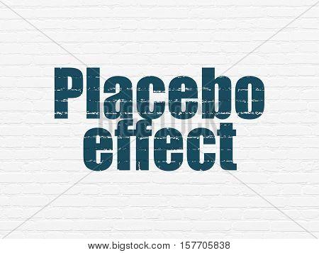 Healthcare concept: Painted blue text Placebo Effect on White Brick wall background