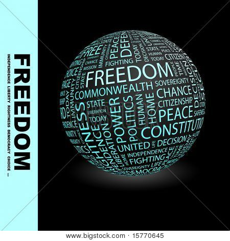 FREEDOM. Globe with different association terms. Wordcloud vector illustration.