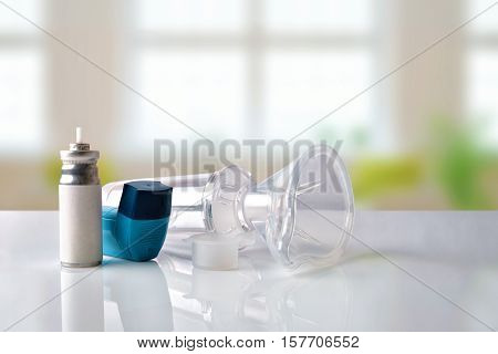 Cartridge Inhaler And Chamber And Mask In Room Front View