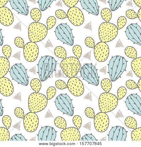 Color cactus seamless pattern, vector illustration. Hand drawn cacti, desert plant in doodle style for art therapy, poster, card, textile, wallpaper template