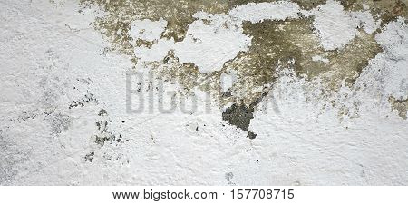 Dark Plaster Wall With Dirty White Black Scratched Horizontal Background. Old Brickwall With Peel Grey Stucco Texture. Retro Vintage Worn Concrete Wall. Decayed Cracked Rough Abstract Banner Surface.