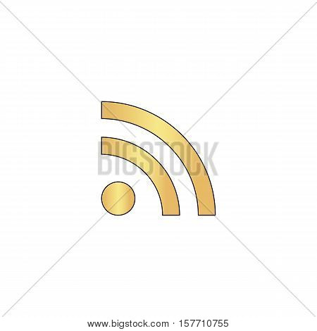 RSS Gold vector icon with black contour line. Flat computer symbol