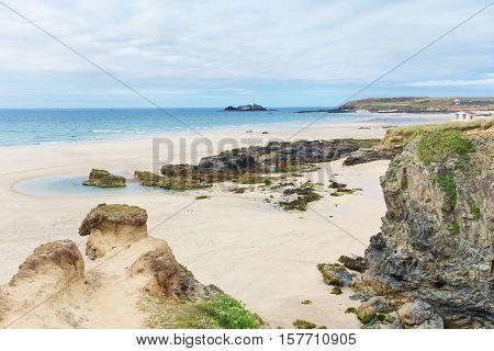 Popular St Ives Atlantic ocean coast, Cornwall, England, United Kingdom