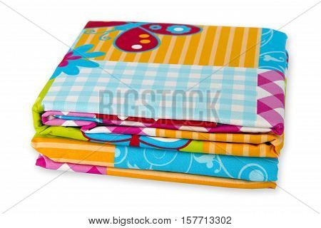 Colorful bedding textile isolated on white background