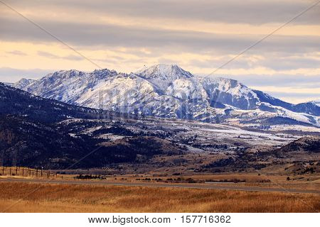Beautiful mountain landscape with snow covered peaks in Yellowstone National Park.