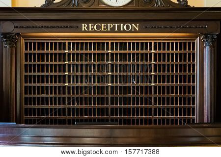 Hotel Desk Reception Mailboxes Geometric Array Perspective Post Letters Empty Wooden Sign