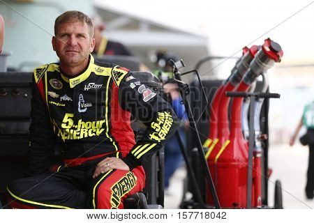 Homestead, FL - Nov 19, 2016: Clint Bowyer (15) hangs out in the garage during practice for the Ford EcoBoost 400 at the Homestead-Miami Speedway in Homestead, FL.