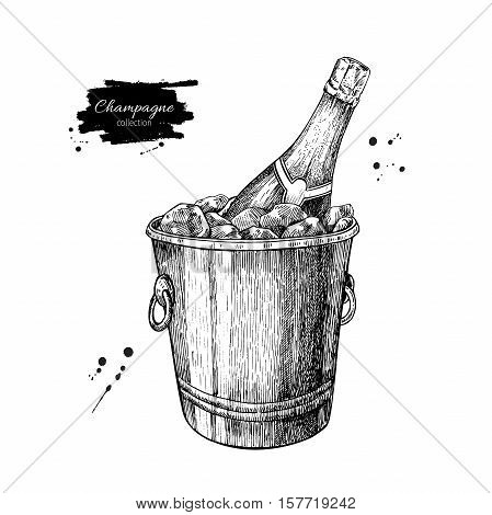 Champagne bottle in ice bucket. Hand drawn isolated vector illustration. Alcohol drink in engraved style. Vintage sketch. Beverage drawing for bar and restaurant menu, poster, banner. Celebration concept