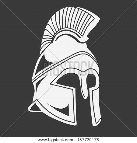 Gladiator, Spartan Helmet silhouette, Greek warrior legionnaire heroic soldier. vector