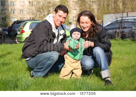 Spring Family With Baby