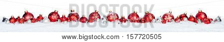 Red Balls In A Row Isolated On Snow - Christmas Border