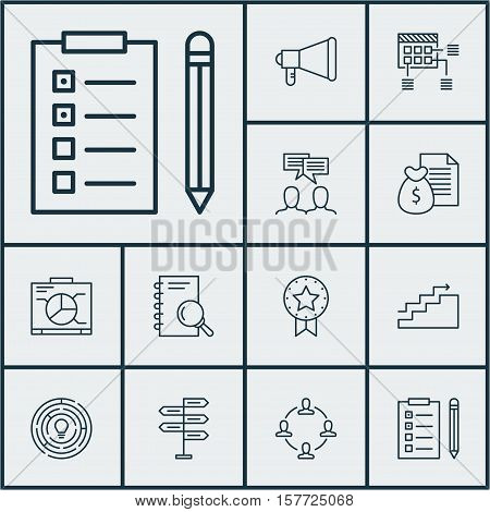 Set Of Project Management Icons On Announcement, Analysis And Innovation Topics. Editable Vector Ill