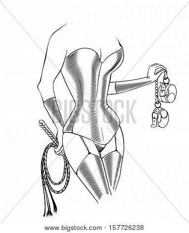 Decorative drawing in sketch style with sexy inked female body with legs in latex stockings and tight corset holding the thong and handcuffs. Vector illustration isolated. Fetish and bdsm symbol. Dominating mistressdominatrix.
